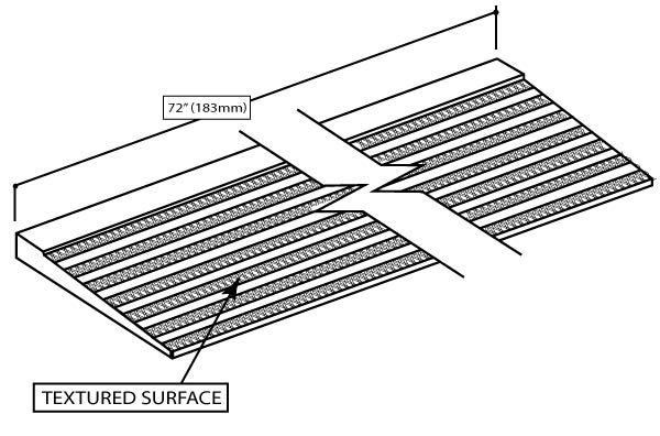 Illustration of an ADA textured shower ramp from the Vena and Quarzo Collections.
